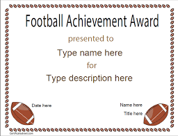Sports Certificates Football Achievement Award