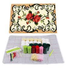 diy sofa cushion carpet flower latch hook rug kit needlework embroidery 50x36cm