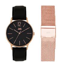 jag billy j2183 black leather womens watch set 30259333 watches shiels jewellers