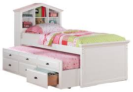 kids twin beds with storage. Contemporary Storage Kids Twin Storage Captain Bed With Bookcase HeadboardTrundleDrawer White Intended Beds Y