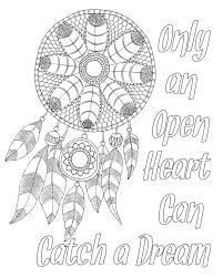 Books About Dream Catchers Free adult coloring page Dream catcher with quote Pinteres 58