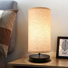 bedside table lamp minimalist solid wood base round fabric shade 5 5x12 aooshine