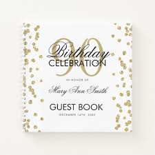 Birthday Guest Book Template Gold 90th Birthday Guestbook Confetti Notebook