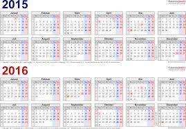 Kalender 2015 Excel Zweijahreskalender 2015 2016 Als Excel Vorlagen Zum Ausdrucken