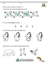 Math Worksheets Kindergarten Comparing Who Has Least Maths For ...