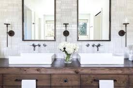 modern rustic bathroom design. Stylish Modern Bathroom Design With Wood Block And Stone Sinks Small  Patterns Rustic Creative Modern Rustic Bathroom Design