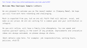 Welcome New Employee Sample Letters