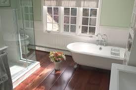 bathroom stunning vintage bathroom decor with glass wall screen and clawfoot bathtub on laminate wooden