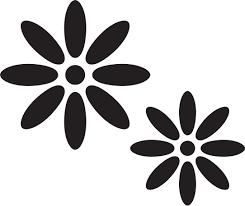 白黒モノクロの花のイラストフリー素材花一輪no645白黒8枚葉