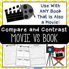 movie vs book activities comparing books and movies chart  movie vs book activities comparing books and movies chart questions essay