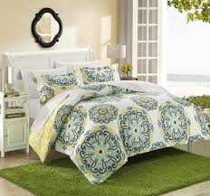 chic home ibiza 3 piece duvet cover set super soft reversible microfiber large printed medallion design with geometric patterned backing zipper closure