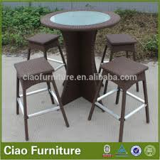 wicker aluminum round bar table with bar chair