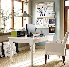 white home office desks. Small Spaces Home Office Design With White Wooden Desk And Chairs Fabric Cover Plus Low Ceiling Hanging Lamp Brown Carpet Tiles Large Desks C