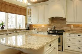 Classic Kitchen Decorating Ideas With White Cabinet With Cream Colored  Granite Countertop And Stylish Window Shade