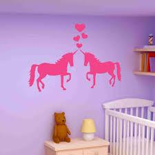 unicorns in love wall decal sticker girl s room vinyl wall art nursery wall decor on girl nursery vinyl wall art with unicorns in love wall decal sticker girl s room vinyl wall art