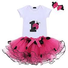 Amazoncom Baby Girls 1st Birthday Cake Smash 3pcs Outfits Set