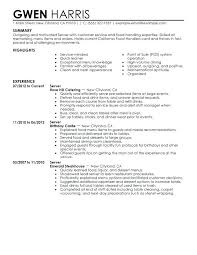 Sample Resume Server Server Sample Resume Sample Resume Server