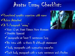 avatar imperialism essay ppt  avatar essay checklist