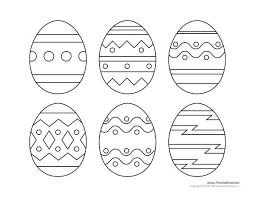 Blank Egg Template Eggs Pictures To Color Decorated With Flower