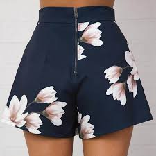 <b>Summer</b> Women <b>Sexy</b> Shorts High Waist Zipped Flowers <b>Printing</b> ...