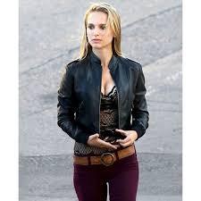to natalie portman black leather jacket