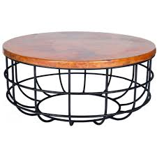 axel iron coffee table with round hammered copper top twi base end wrought and larger inch