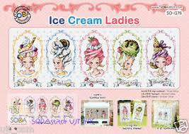Details About Ice Cream Ladies Cross Stitch Pattern Book Big Chart Sodastitch So G76