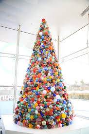 The 14-foot holiday tree at The Corning Museum of Glass contains 2,000  glass ornaments made by a team of glassmakers. (The Corning Museum of Glass)