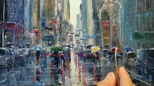 in the rain how to oil painting palette knife brush city street walk dusan