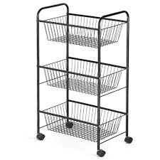 com nex 3 tier rolling basket stand large size full metal rolling trolley for kitchen bathroom three tier storage cart w shelves wheels