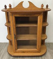 23 oak curio cabinet display case table wall mount glass door shelf vintage 80s
