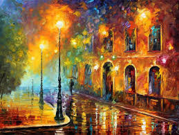 misty city original oil painting on canvas by leonid afremov size 40 x30