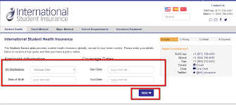 international student health insurance quote step 3