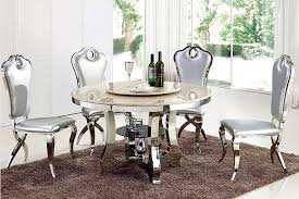 modern metal 4 chairs design marble round dining table