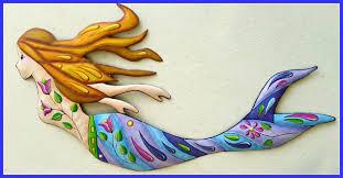 mermaid wall hanging hand painted metal nautical art