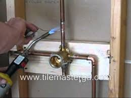 shower valve replacement brass rough in installation copper soldering how to diy delta part 2