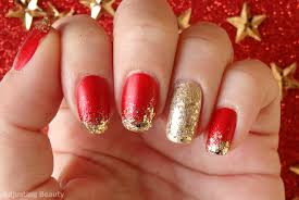 Gold and red nails - how you can do it at home. Pictures designs ...