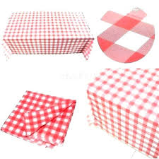 red checd tablecloth gingham round disposable table cloth paper covers the whole plastic party