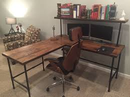 iron pipe furniture. Classy Black Iron Pipe Furniture Corner Desk Reclaim Wood L Table Solid Oak W 28 Zoom B