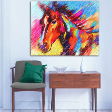 sunshiny chen wall art poster on wall colorful horse animal oil painting canvas living 1 colorful wall art diy ideas colorful wall art paintings