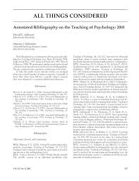 Pdf Annotated Bibliography On The Teaching Of Psychology 2001