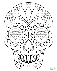 Small Picture Sugar Skull with Diamonds coloring page Free Printable Coloring
