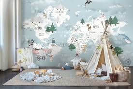 kids blue world map with cute animals