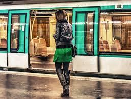 Girl on subway train