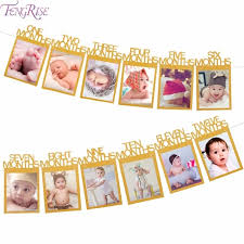 1st birthday banner fengrise baby 1st birthday banner gold paper photo frame baby shower