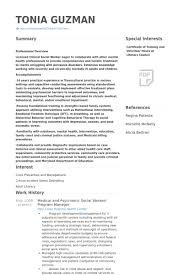 Medical Social Worker Resume Social Work Resume Examples Templates