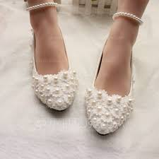women s patent leather flat heel closed toe flats with imitation pearl applique loading zoom
