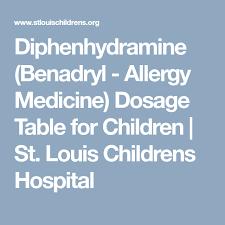 Diphenhydramine Benadryl Allergy Medicine Dosage Table
