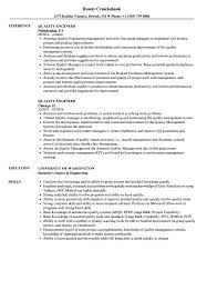 Quality Engineer Resume Sample Imposing Templates Assurance Summary