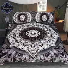 mandala by brizbazaar bedding set black white flower duvet cover mysterious universe bed set vintage gemstone
